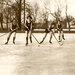 Ice-hockeying women in bathing suits