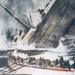 A sűllyedő Titanic és egy mentőcsónak fantázia festmény