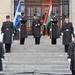 Skót - magyar zászlók előtt