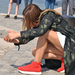Trikoloros fekete cipő